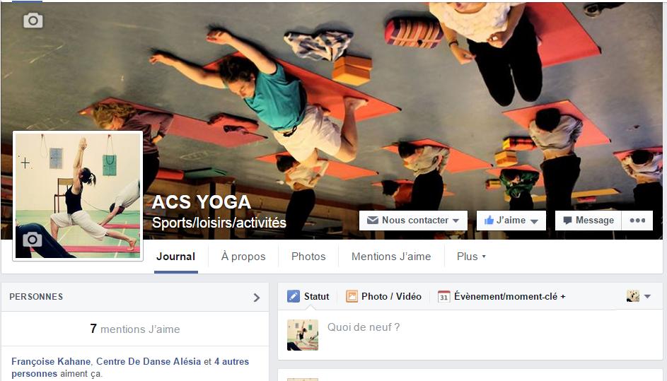 Le Compte Facebook de l'ACSYOGA est arrivé !
